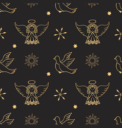 Angel dove snowflakes seamless pattern packing vector