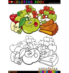 Apples and pie for coloring vector