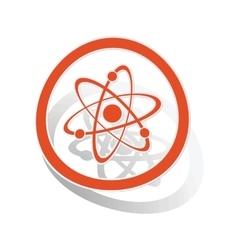 Atom sign sticker orange vector image