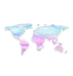 Beautiful world map with shadow on white vector image