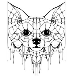 Black spiderweb silhouette head dog halloween vector