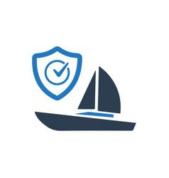 Boat insurance icon vector