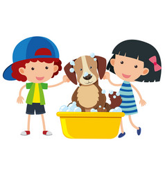 boy and girl giving dog a bath vector image