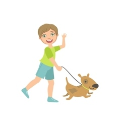 Boy Walking A Dog On The Leash vector