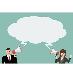 businessman and woman holding a megaphone vector image