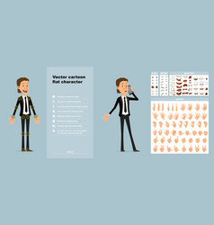 cartoon cute office boy character big set vector image