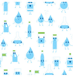 cartoon water funny emotions bottle seamless vector image