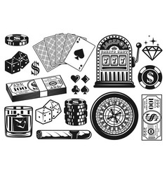 casino and poker objects vintage elements vector image