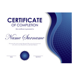 Certificate completion template vector