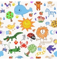 Children drawing doodle animals trees and sun vector