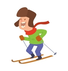 Christmas boy playing winter games vector