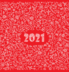 christmas icon holiday background happy new 2021 vector image