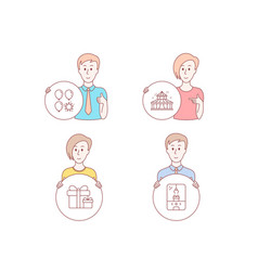 circus surprise package and balloon dart icons vector image