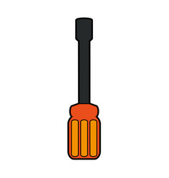 Colorful silhouette screwdriver spade tip icon vector