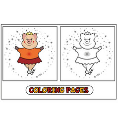 coloring piggy - figure skating vector image