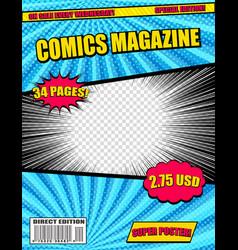 Comics magazine template vector
