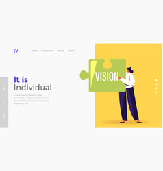 Core values concept for landing page template vector
