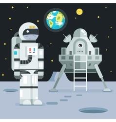 Cosmonaut astronaut landing planet lander icon vector