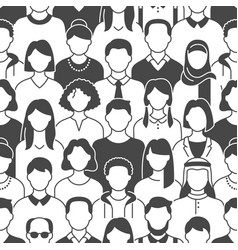 Crowd people seamless pattern vector
