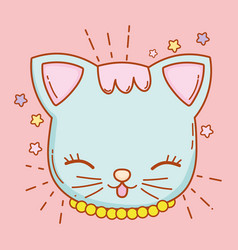 Cute cat head with whiskers and stars vector