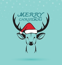 Deer and santa hats vector image