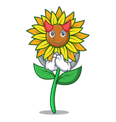 Devil sunflower mascot cartoon style vector