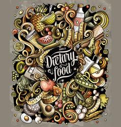 diet food hand drawn doodles vector image