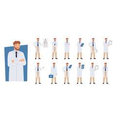 doctor character in different poses doctors vector image