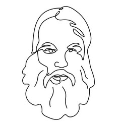 elderly man with beard continuous line drawing vector image