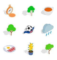English stereotype icons set isometric style vector