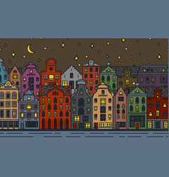 europe house and apartments moon night in vector image