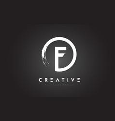 F circular letter logo with circle brush design vector