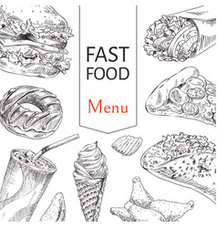 fast food menu sketch outline vector image