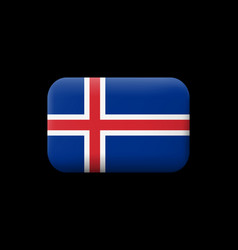 Flag of iceland matted icon and button vector