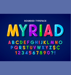 Flat bubble comical font design colorful alphabet vector