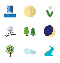 Flat icon bio set of overcast half moon vector