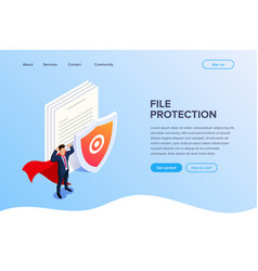 Flat isometric file protection concept protect vector