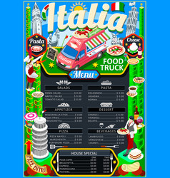 food truck menu street food pizza festival poster vector image