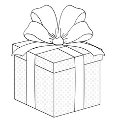 gift box surprise with ribbon coloring vector image