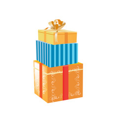 Gift boxes with beautiful ribbons and patterns in vector
