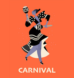 Girl with maracas on a red background carnival vector