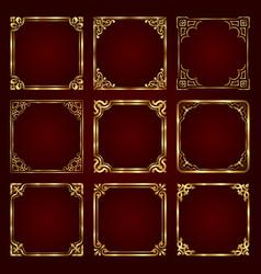 Golden decorative vintage frames vector