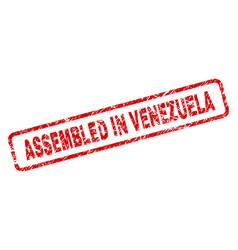 grunge assembled in venezuela rounded rectangle vector image