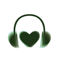 headphones with heart colorful icon vector image