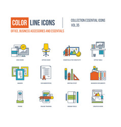 Icons collection office business accessories vector
