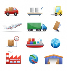 Industry logistics icon set vector