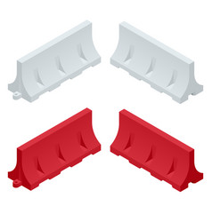 Isometric red and white plastic barriers blocking vector