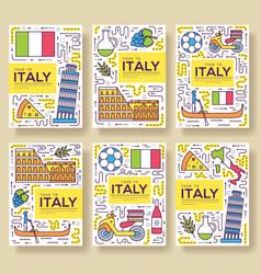 Italy brochure cards thin line set vector