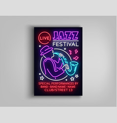 Jazz festival poster neon neon sign neon style vector