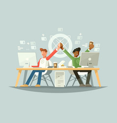 joy of colleagues vector image
